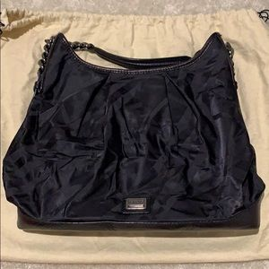 Gently used Burberry black leather/canvas purse